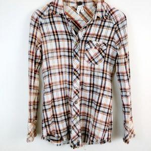 We the Free Bleach Plaid Snap Button Shirt XS